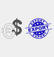 dot currency icon and distress export seal vector image vector image