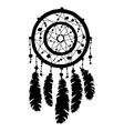 Dream catcher silhouette in isolated on white vector image