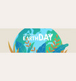 earth day banner of green planet with leaves vector image vector image