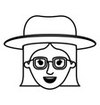 female face with glasses short hair and hat in vector image vector image