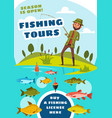 fishing tours for fishers poster with fish in lake vector image vector image