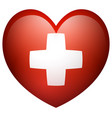 flag of switzerland in heart shape vector image vector image