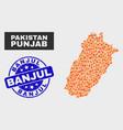 flamed mosaic punjab province map and distress vector image vector image