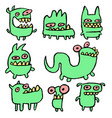 funny green monsters vector image vector image