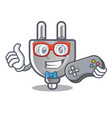 gamer isolated power plug in the mascot vector image