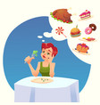 girl woman on a diet tasty desires for food vector image vector image