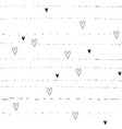 hand drawn hearts and lines background seamless vector image