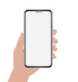 hand holding phone design vector image vector image