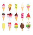 ice cream collection big set vector image vector image