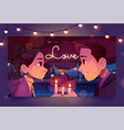 love banner with happy couple on date vector image