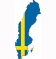 Map of Sweden with national flag vector image vector image