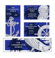 Marine zentangle banners set vector image
