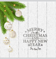 merry christmas poster with balls and branches vector image vector image