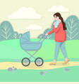 mother walking with stroller vector image