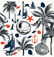 nautical pattern on marine theme with palms vector image vector image