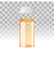 open and empty pill bottle on the transparent vector image