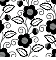 Seamless Floral White Black Background vector image vector image