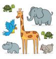 simple set cartoon animals vector image vector image