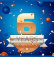six years anniversary celebration design vector image vector image