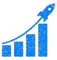 Startup Rocket Bar Chart Grainy Texture Icon vector image vector image