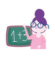 teacher woman with blackboard school math lesson vector image