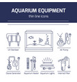 thin line icons - aquarium equipment vector image vector image