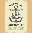 travel banner with anchor and sailboat vector image vector image