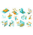 travel isometric set vector image vector image