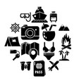 travel summer icons set simple style vector image vector image