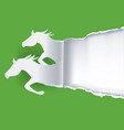 two paper horses ripping paper vector image vector image