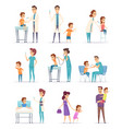 vaccination childrens in hospital with doctor vector image vector image