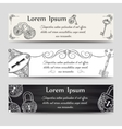 Vintage keys and locks horizontal banners vector image