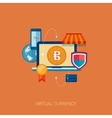 virtual currency block chain flat icon concept vector image vector image