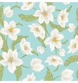 Winter rose hellebore flowers pattern light blue vector image vector image