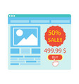 buy button on blue website purchase with 50 vector image