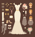 wedding fashion bride dress doodle style bridal vector image