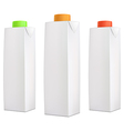 juice packs with color lids vector image
