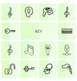 14 key icons vector image vector image