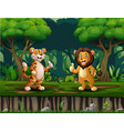 a lion and tiger giving thumb up in middle vector image vector image