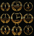 anniversary golden laurel wreath retro collection vector image vector image