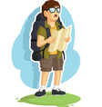 Backpacker Boy Reading Road Map vector image vector image