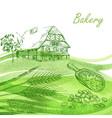 bakery set hand drawn farm house wheat grain vector image vector image