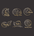 beauty salon logo hairdressing symbols stylized vector image