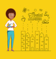 black businesswoman with social media icons vector image vector image