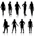 black silhouettes of beautiful man and woman on vector image