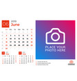 calendar for june 2019 design print template with vector image vector image