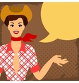 Card with beautiful pin up cowgirl 1950s style vector image vector image