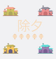 chinese house and snow vector image vector image