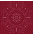 claret background with white linear rosette vector image vector image