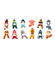 collection of children s winter knit hats and vector image vector image